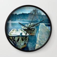 Boats in blue Wall Clock