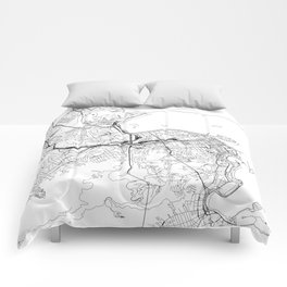 Rio De Janeiro White Map Comforters
