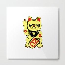Super Grumpy Bad Luck Cat Metal Print