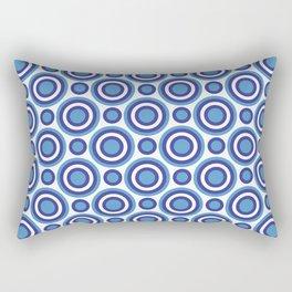 Circle Circle: Small: Turquoise, White + Navy Rectangular Pillow