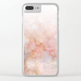 Beautiful Pink and Gold Ombre marble under snow Clear iPhone Case