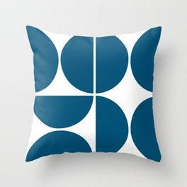 Mid Century Modern Blue Square Throw Pillow