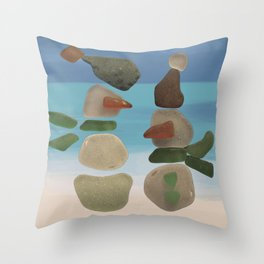 Finding Unexpected Sea Glass at the Beach #snowman #seaglass Throw Pillow