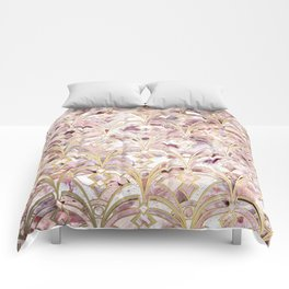 Dusty Rose and Coral Art Deco Marbling Pattern Comforters