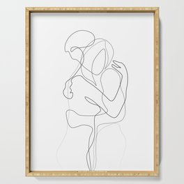 Lovers - Minimal Line Drawing Serving Tray