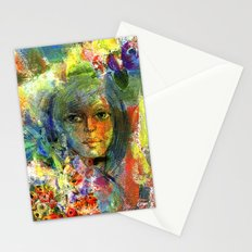 Girl with fruits. Stationery Cards