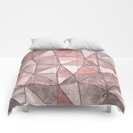 Soft Pink Coral Glamour Gemstone Triangles Comforters