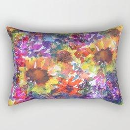 Rainy Day Sunflower Garden Rectangular Pillow