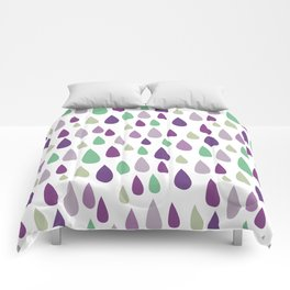 Hand painted pastel lilac purple green water drops pattern Comforters