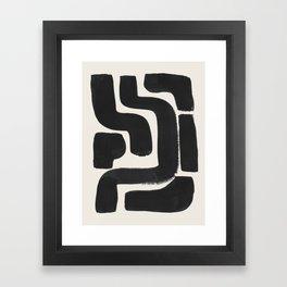 Black Ink Paint Brush Strokes Abstract Organic Pattern Mid Century Style Framed Art Print