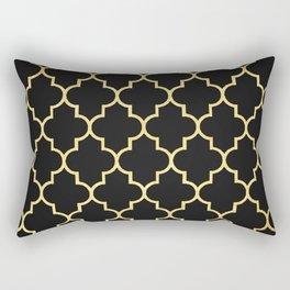 Black Gold Quattrefoil Rectangular Pillow