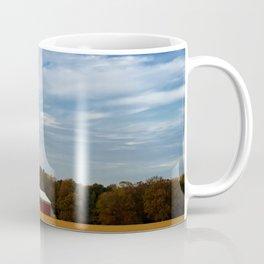 Red Barn in Golden Field Rural Landscape Photograph Coffee Mug