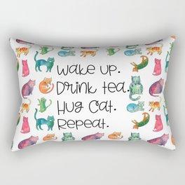Wake Up. Drink Tea. Hug Cat. Repeat. Rectangular Pillow