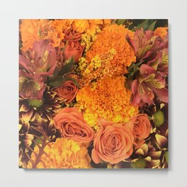 Autumn Floral Bouquet in Bright Orange and Golds Metal Print