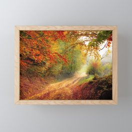 Road Forest Season Autumn Fall Landscape Nature Framed Mini Art Print