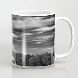 Red Barn in Golden Field Black and White Rural Landscape Photo Coffee Mug