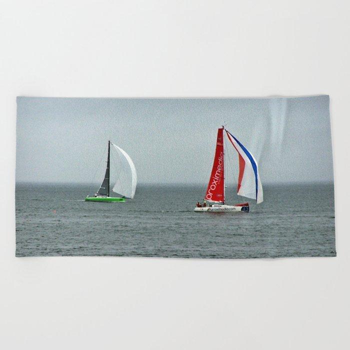 part 4 of 4 of Sailing Battle 42-56  - Transat Quebec St-Malo Beach Towel