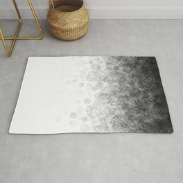 Disappearing Fog - Black and White Gradient Rug
