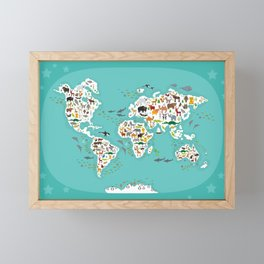 Cartoon animal world map for children and kids, Animals from all over the world Framed Mini Art Print