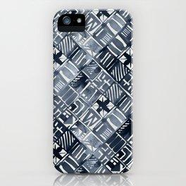 Simply Tribal Tiles in Indigo Blue on Lunar Gray iPhone Case