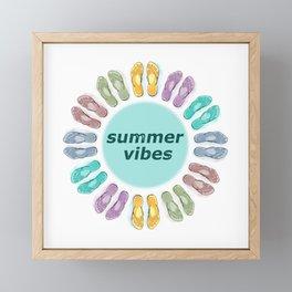 Summer vibes in flip flops Framed Mini Art Print