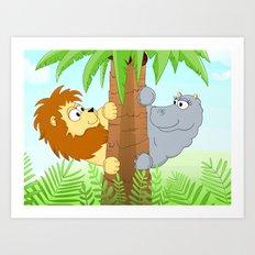 Hiding hippo and lion Art Print