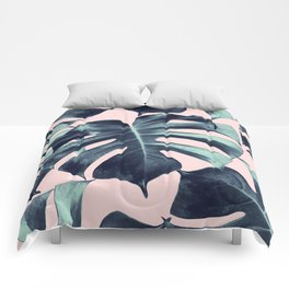 Tropical Monstera Leaves Dream #3 #tropical #decor #art #society6 Comforters