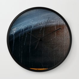 Horizon [2]: a pretty minimal abstract painting in blue and gold by Alyssa Hamilton Art Wall Clock