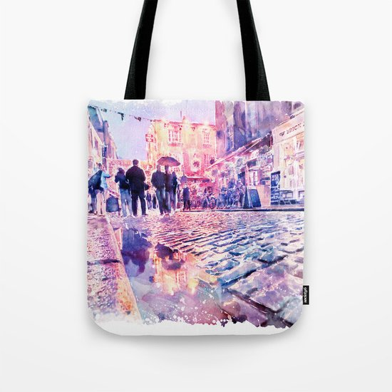 Dublin Watercolor Streetscape Tote Bag