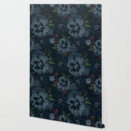 Moody Blues Floral Pattern Wallpaper