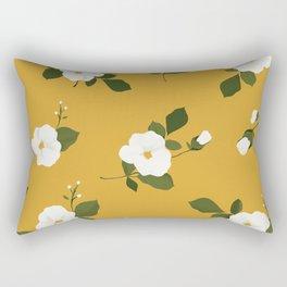 Floral throw pillow - White flowers on ochre background Rectangular Pillow