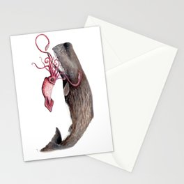 Epic battle between the sperm whale and the giant squid Stationery Cards