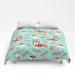 Corgi Bacon art print cute corgis dog bacon food corgis pillow funny bacon design Comforters