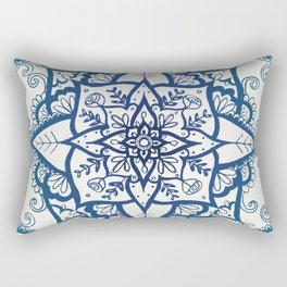 Blue Floral Pattern on Cream Rectangular Pillow