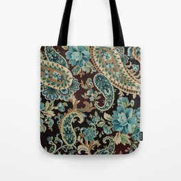 Brown Turquoise Paisley Tote Bag