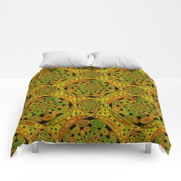 Brown and green circles Comforters