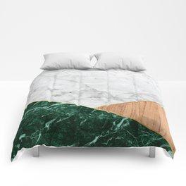 White Marble - Green Granite & Wood #138 Comforters