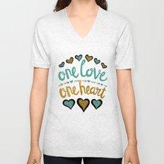 One Love One Heart Unisex V-Neck