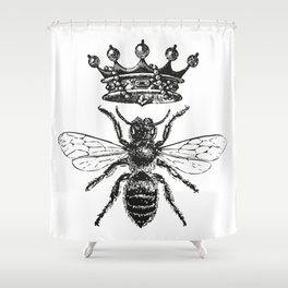Queen Bee | Black and White Shower Curtain