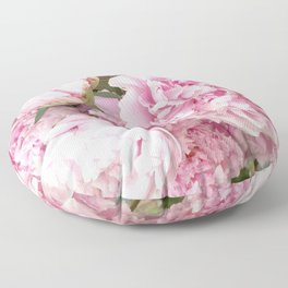Pink Shabby Chic Peonies - Garden Peony Flowers Wall Prints Home Decor Floor Pillow