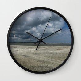 Dramatic Sky Over Golden Isles Beach Wall Clock