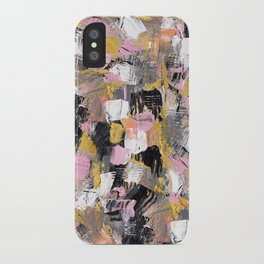 Modern acrylic brushstrokes pink salmon gold black white hand painted iPhone Case