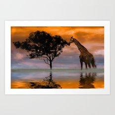 Giraffe at Sunset Art Print