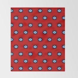 Evil Eye on Red Throw Blanket