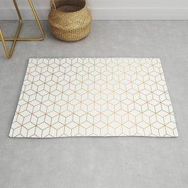 Gold Geometric Pattern on White Background Rug