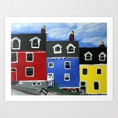 Newfoundland Houses Canada acrylics on canvas Art Print