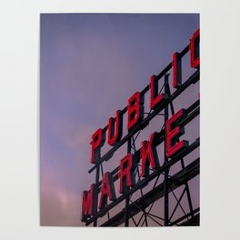 Pike Place Neon Sunrise Poster