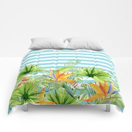 Tropical Chic Teal Blue Stripes Comforters