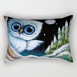 TINY BLUE OWL FOUND THE HOLIDAY PINE TREES Rectangular Pillow