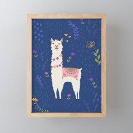 Llama on Blue Framed Mini Art Print